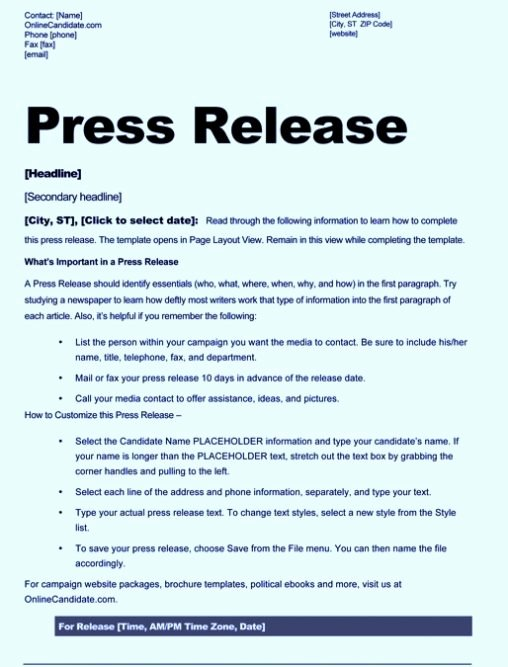 Press Release format Template Fresh Free Sample Press Release Template Word