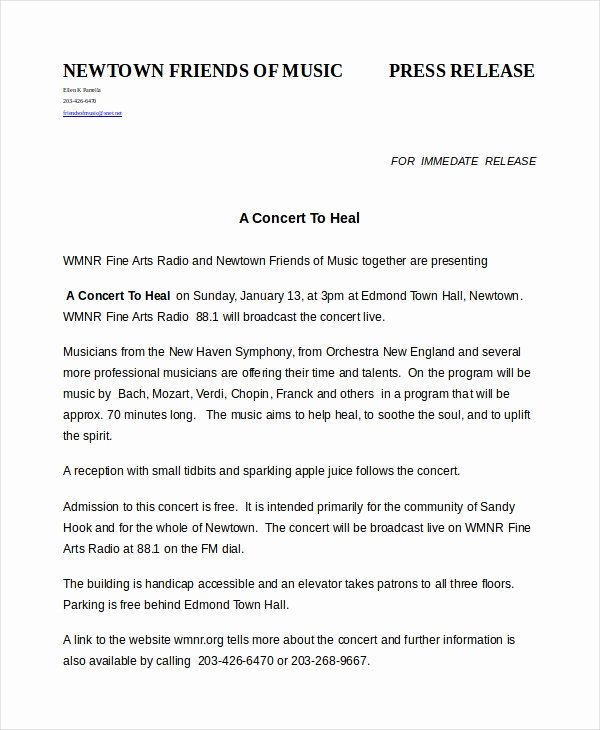 Press Release format Template Lovely Press Release Template