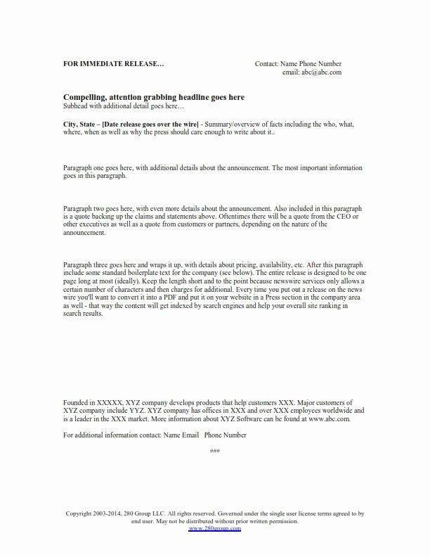 Press Release format Template Luxury Free Press Release Template
