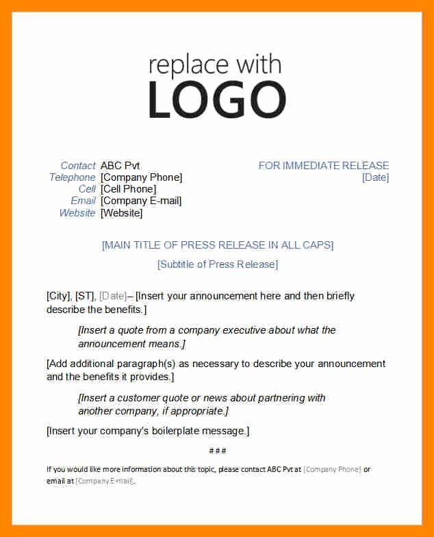Press Release format Template New Press Release Template