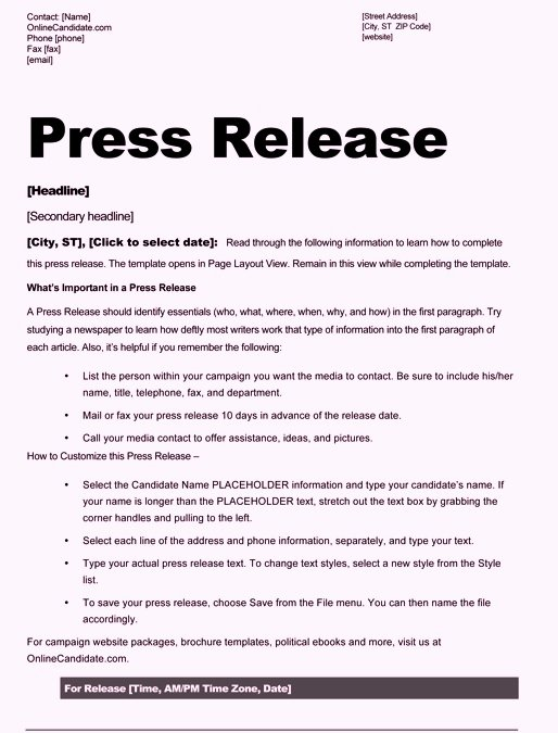 Press Release Sample Template Awesome Free Sample Press Release Template Word