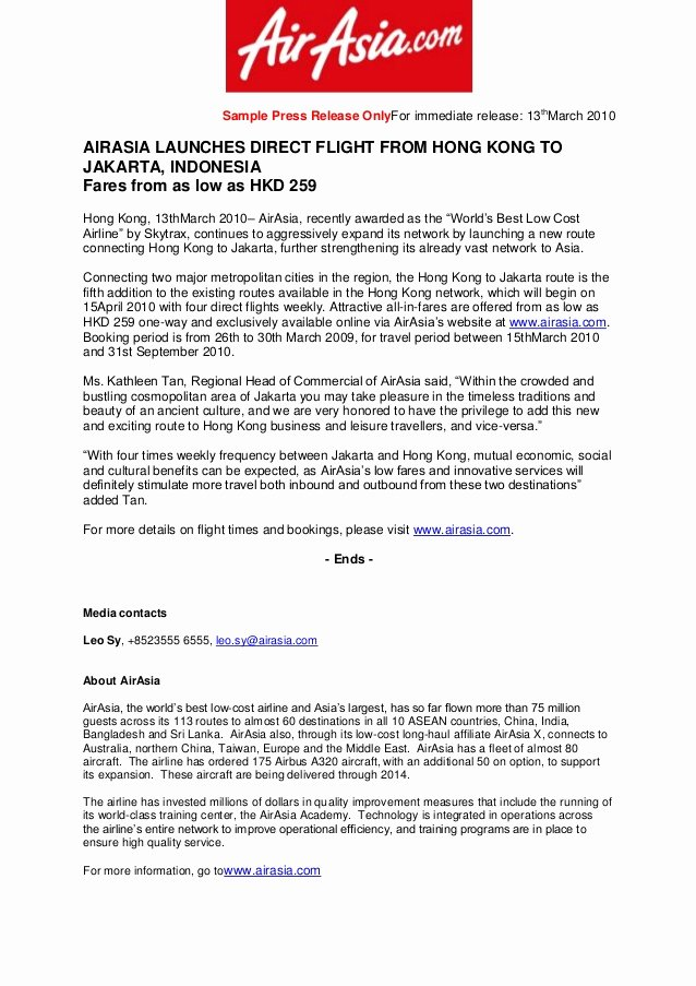 Press Release Sample Template Awesome Sample Press Release for Airasia