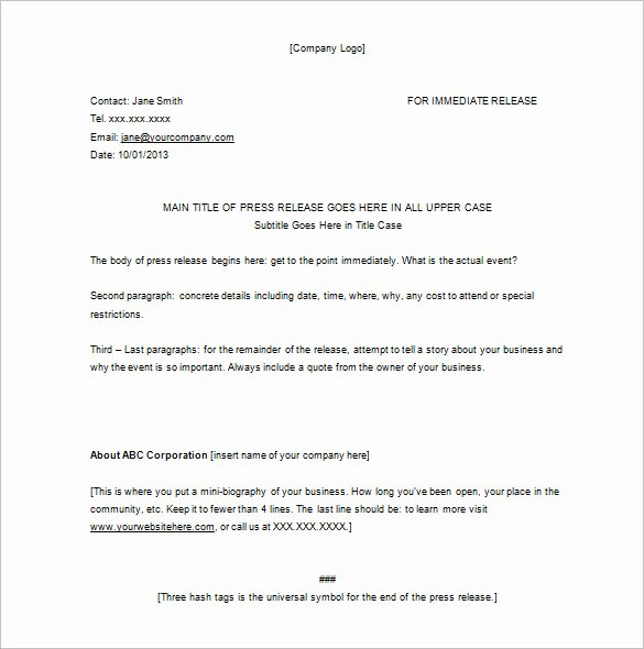 Press Release Sample Template Beautiful 28 Press Release Template Word Excel Pdf
