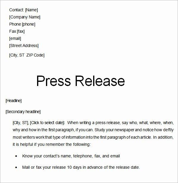 Press Release Sample Template Beautiful 8 Press Release Templates