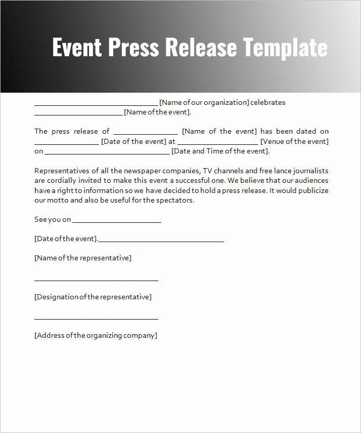 Press Release Sample Template Best Of Press Release Templates Free Word Pdf Doc formats