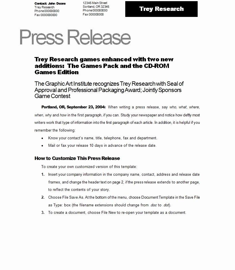 Press Release Sample Template Fresh Press Release Template Template Sample