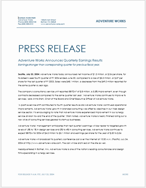 Press Release Sample Template New Press Release Template 15 Free Samples Ms Word Docs