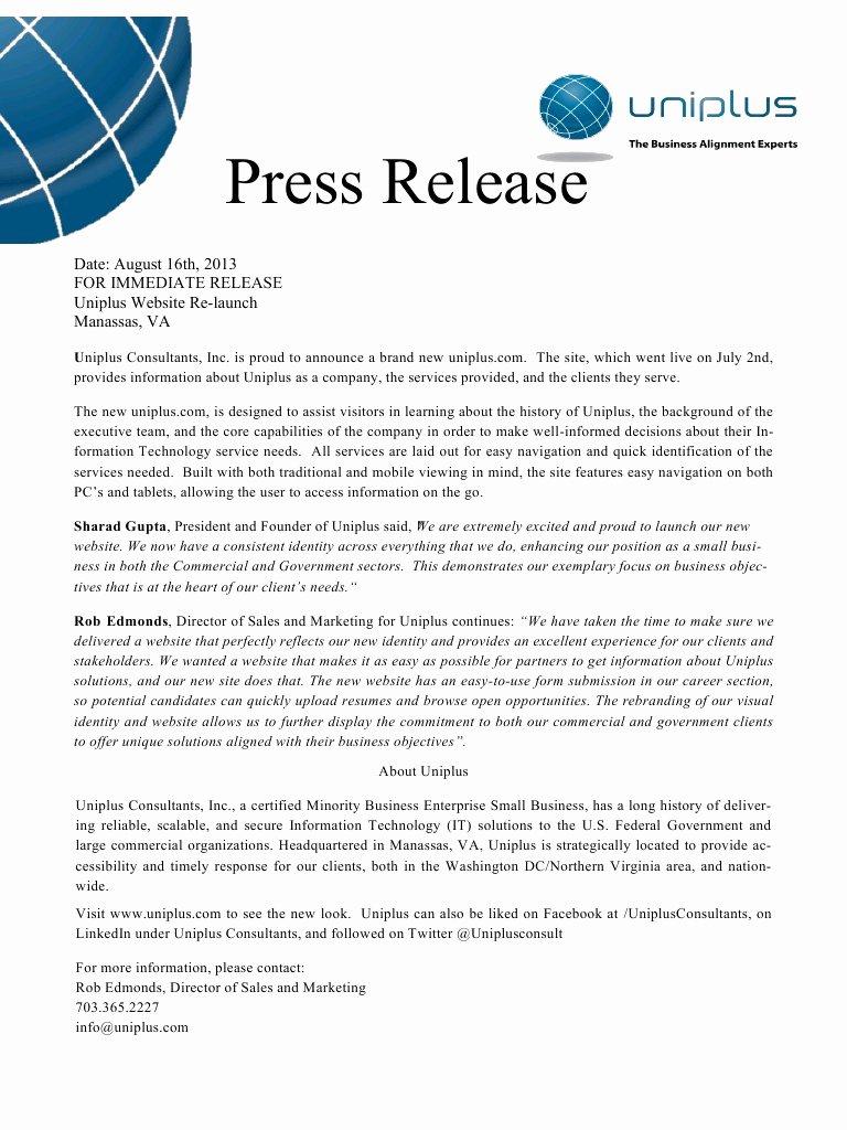 Press Release Sample Template Unique Website Press Release Uniplus Pdf Pdf Archive