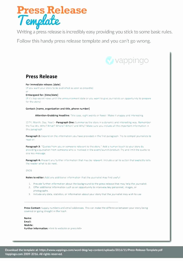 Press Release Template Doc Beautiful A Catchy Title Tailored to Your Business Grand Opening