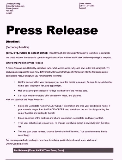 Press Release Template Doc Beautiful Free Sample Press Release Template Word
