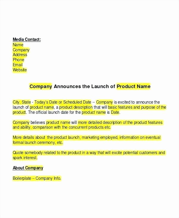 Press Release Template Doc Luxury New Product Announcement Press Release Launch Email