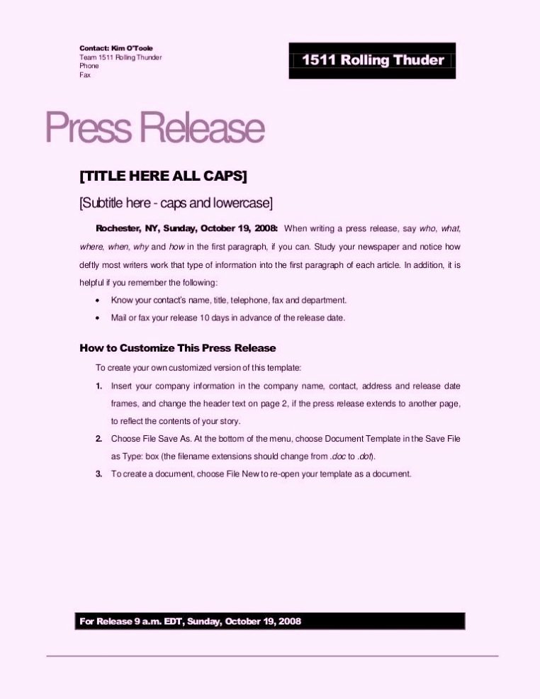 Press Release Template Doc New Free Sample Press Release Template Word