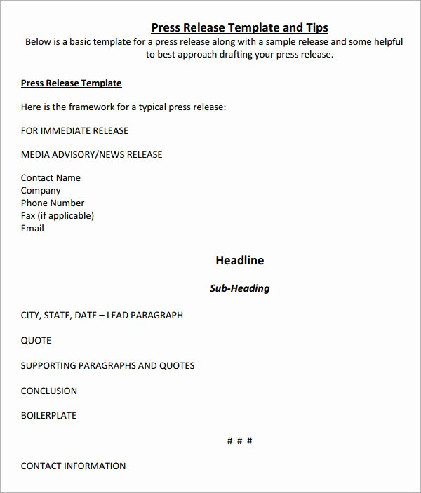 Press Release Template Doc Unique 8 Press Release Templates