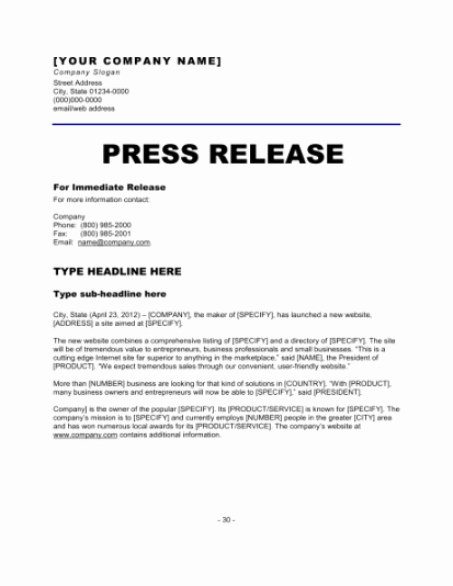 Press Release Template Free Beautiful 6 Press Release Templates Excel Pdf formats