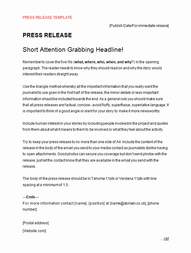 Press Release Template Free Beautiful Press Release Template