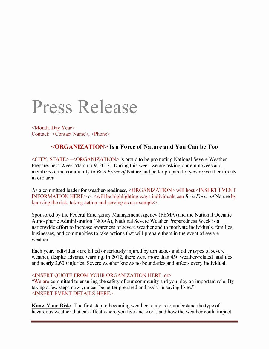 Press Release Template Free Elegant 46 Press Release format Templates Examples & Samples