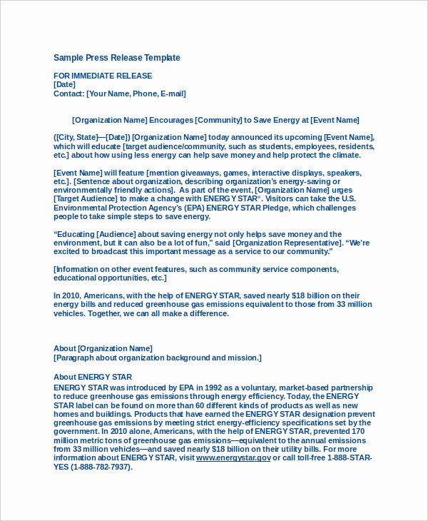 Press Release Template Free New 19 Press Release Templates Free Sample Example format