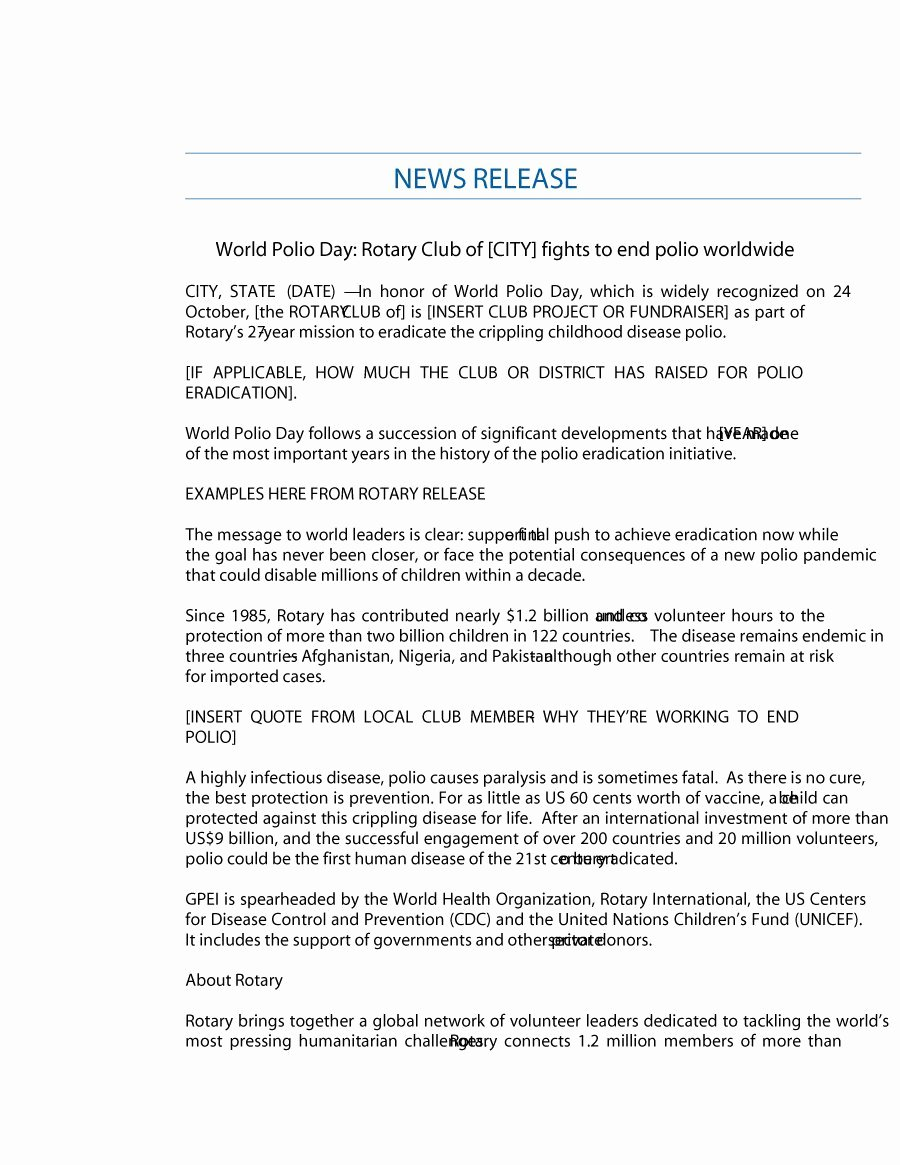 Press Release Template Free New 46 Press Release format Templates Examples & Samples