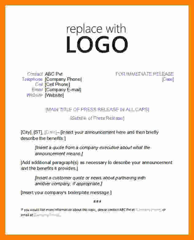 Press Release Template Word Best Of 8 Press Release Template Word