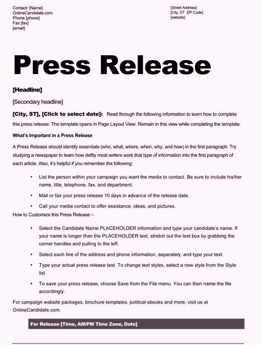 Press Release Template Word Elegant Free Sample Press Release Template Word
