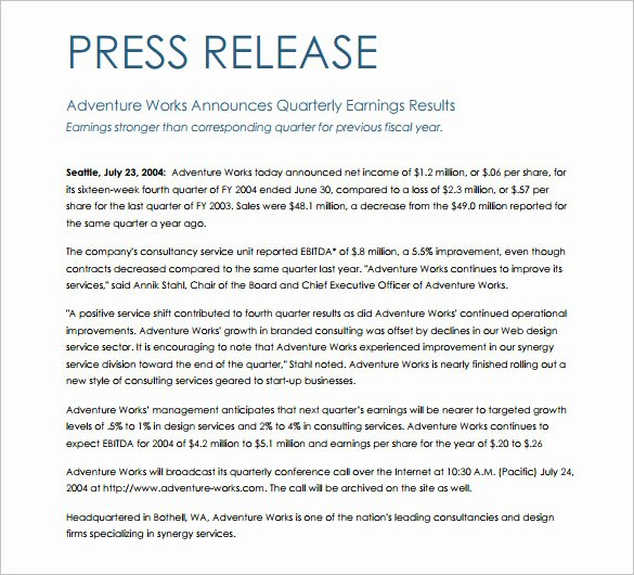 Press Release Template Word Inspirational 28 Press Release Template Word Excel Pdf