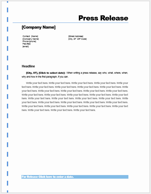 Press Release Template Word Inspirational Press Release Template – Microsoft Word Templates