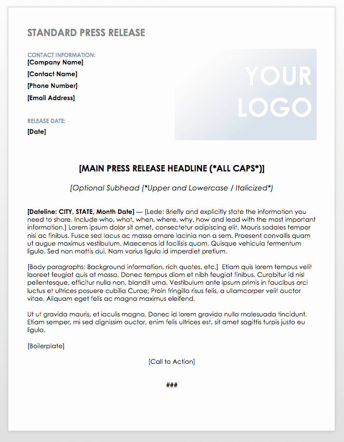 Press Release Template Word New Free Press Release Templates