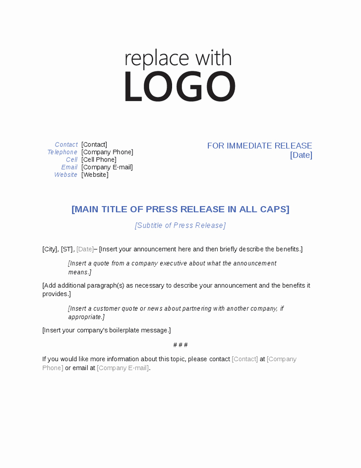 Press Release Template Word New Press Release Template