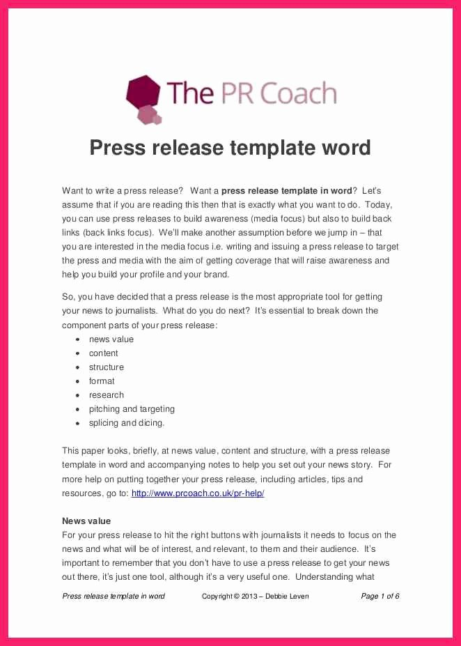 Press Release Template Word New Press Release Template Word