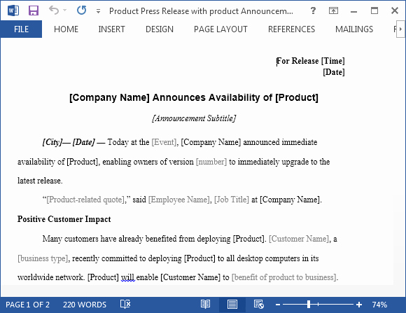Press Release Template Word New Product Press Release with Product Announcement Template