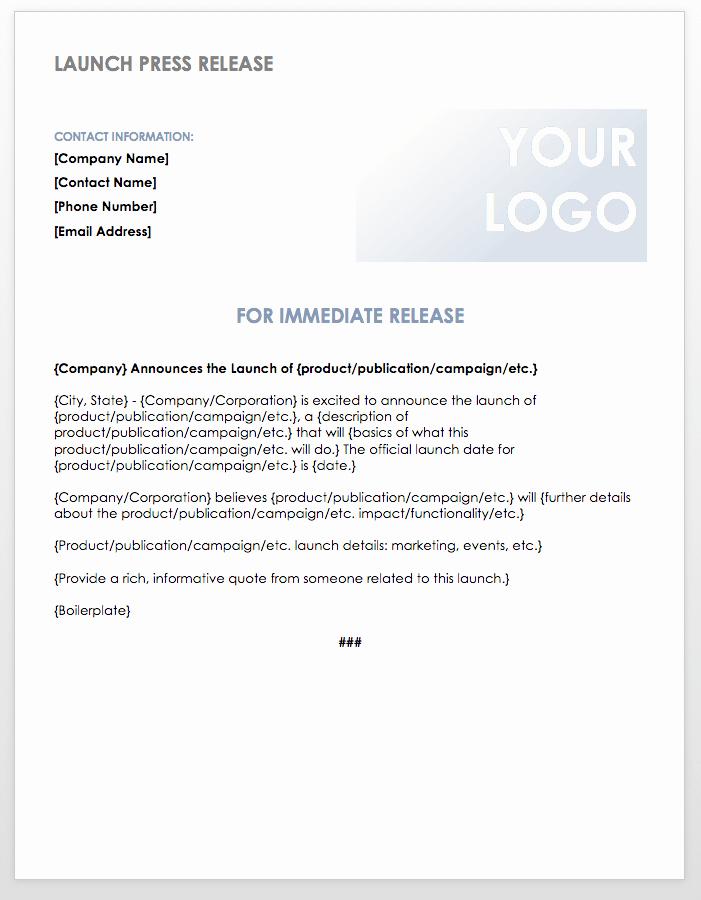 Press Release Template Word Unique Free Press Release Templates
