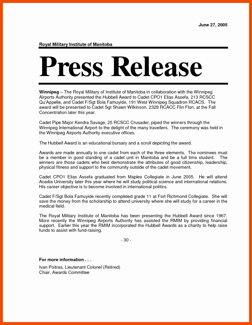 Press Release Word Template Best Of 6 7 Press Release format
