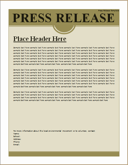 Press Release Word Template Elegant Press Release Template – Excel Word Templates