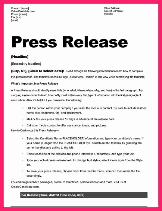 Press Release Word Template Fresh Press Release Template Word