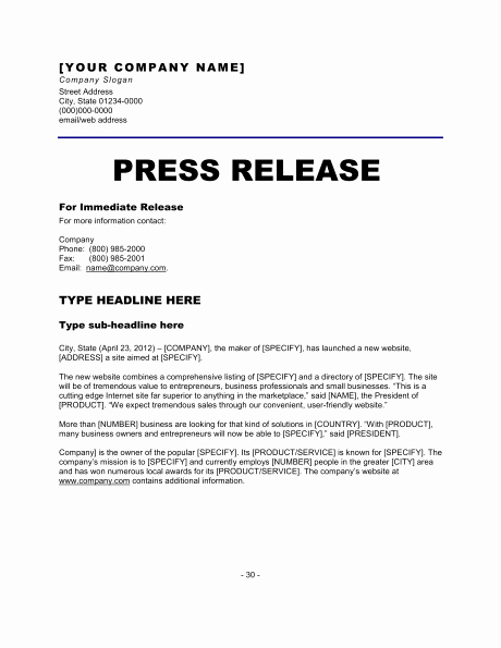 Press Release Word Template Inspirational 6 Press Release Templates Excel Pdf formats