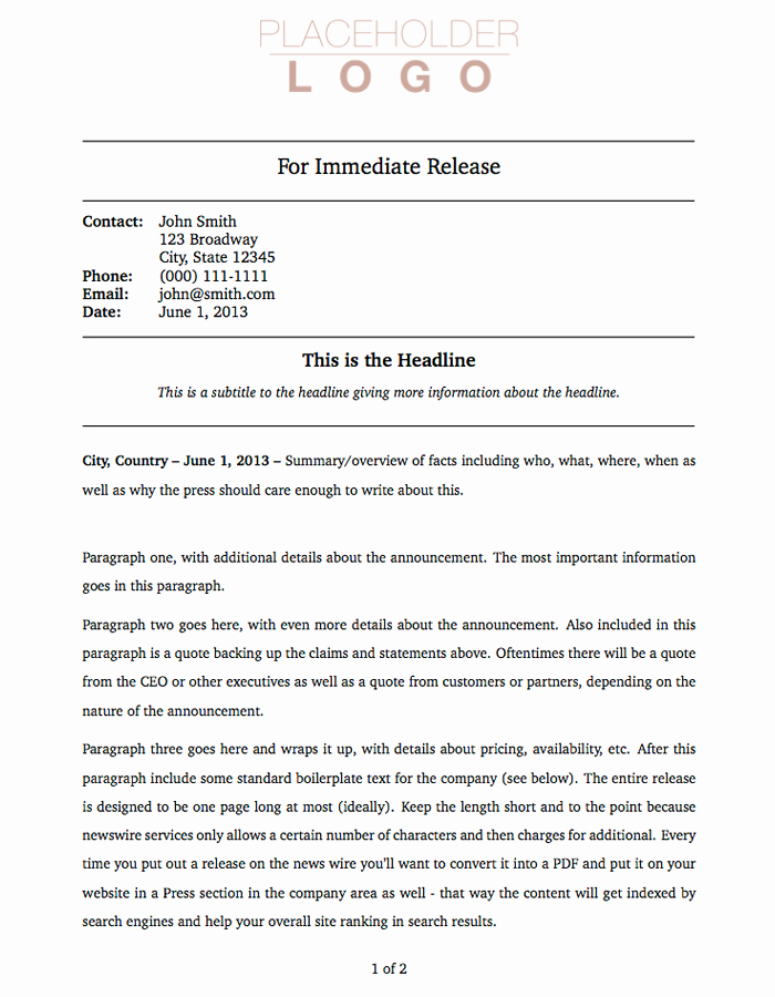Press Release Word Template Inspirational Press Release Template