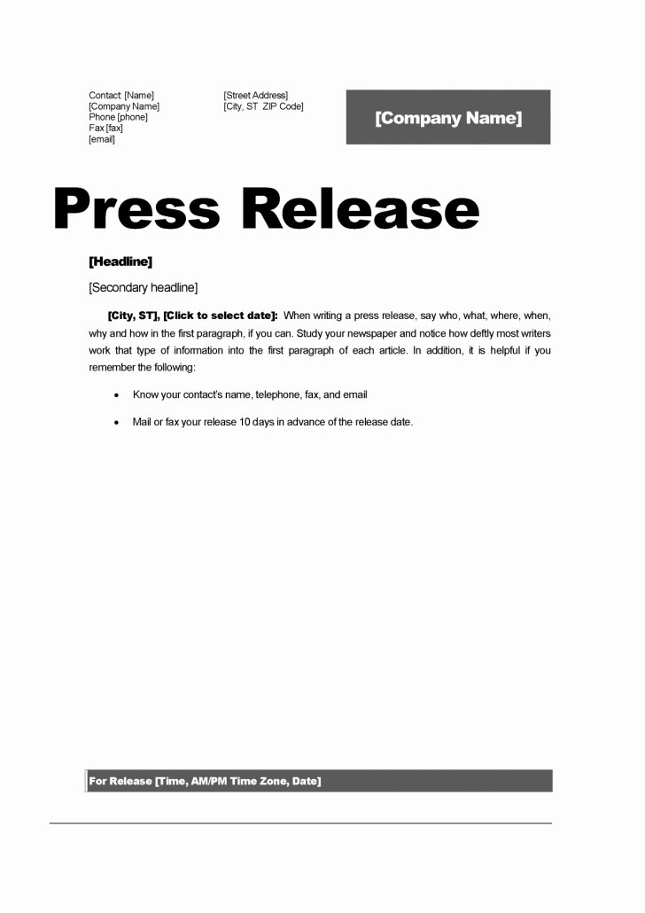 Press Release Word Template Inspirational Release Press Release Template