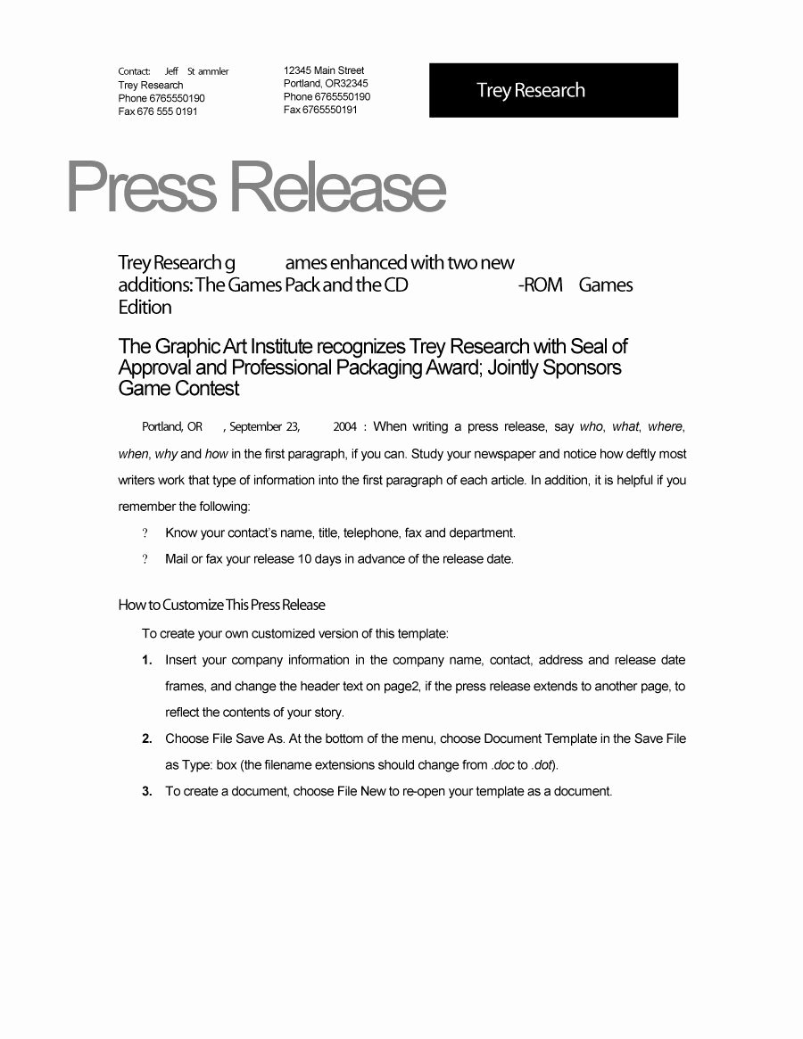 Press Release Word Template Lovely 46 Press Release format Templates Examples & Samples