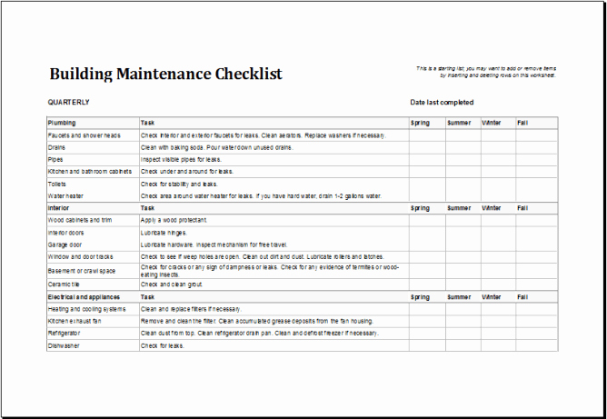 Preventative Maintenance Checklist Template Beautiful 4 Facility Maintenance Checklist Templates Excel Xlts