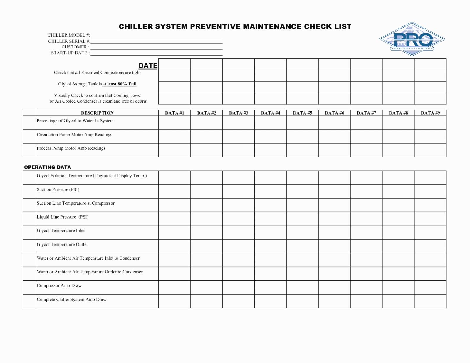 Preventative Maintenance Checklist Template Elegant Best S Of Facility Preventive Maintenance Checklist
