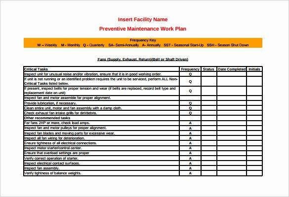 Preventative Maintenance Checklist Template Fresh 37 Preventive Maintenance Schedule Templates Word