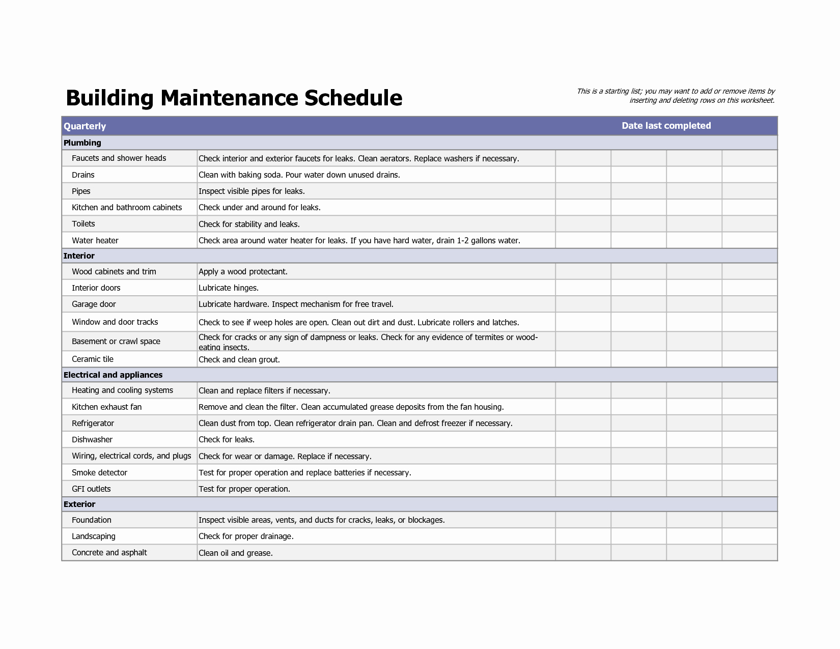 Preventative Maintenance Plan Template New Building Maintenance Schedule Excel Template