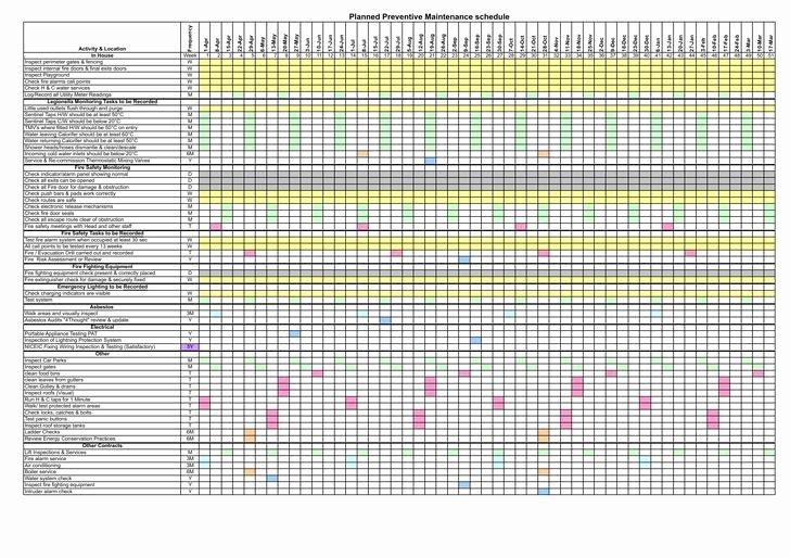 Preventative Maintenance Schedule Template Elegant Preventive Maintenance Schedule Template Excel