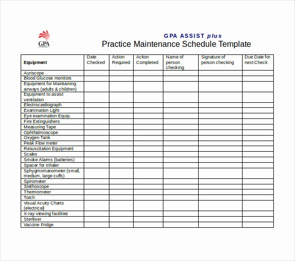 Preventative Maintenance Schedule Template Lovely Free Preventive Maintenance Schedule Template