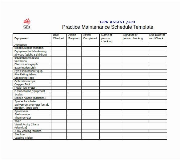 Preventative Maintenance Schedule Template Lovely Free Preventive Maintenance Schedule Template