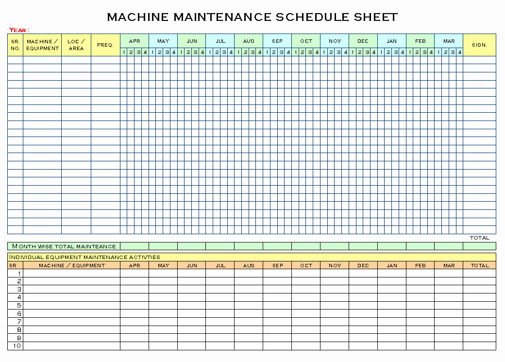 Preventative Maintenance Schedule Template Unique Equipment Maintenance Schedule Template Excel
