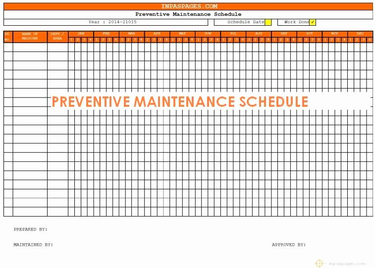Preventative Maintenance Schedule Template Unique Free Preventive Maintenance Schedule Template