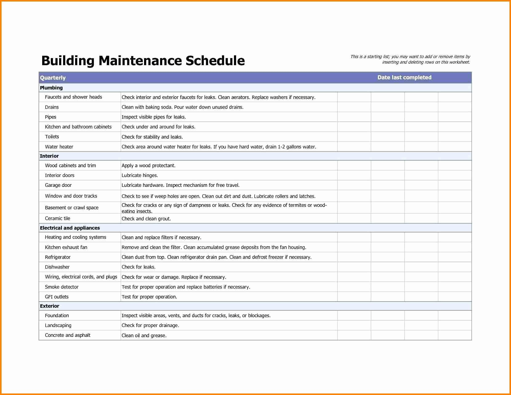 Preventive Maintenance Checklist Template Fresh Building Maintenance Checklists – Emmamcintyrephotography