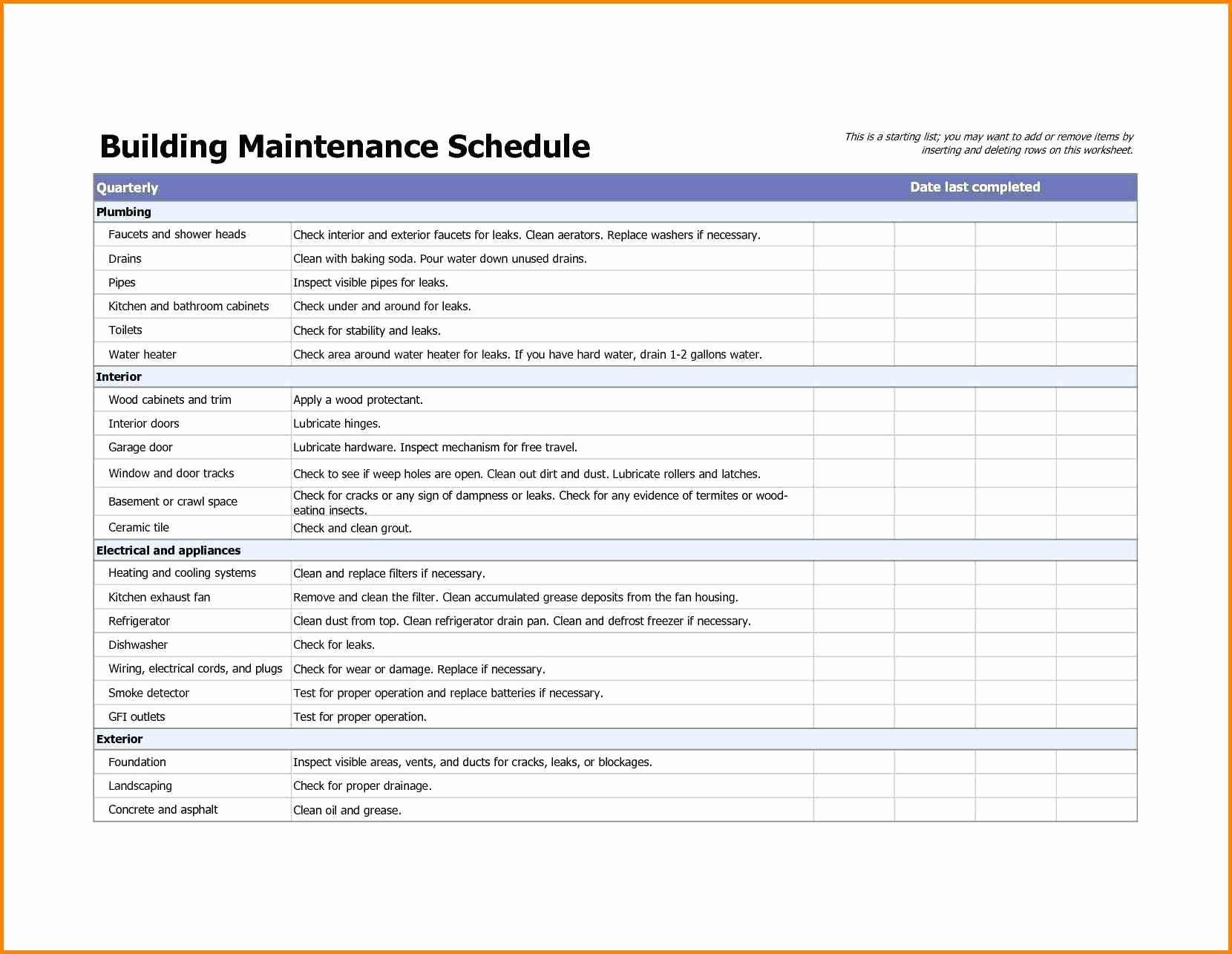 Preventive Maintenance Checklist Template Fresh Building Maintenance Checklists – Emmamcintyrephotography
