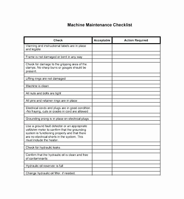 Preventive Maintenance Checklist Template Inspirational Equipment Checklist Template – Flybymedia
